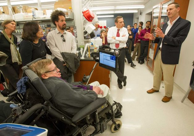 Physicist Hawking visits CIRM-funded lab working on ALS