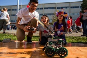 Robots on the rampage at last year's Discovery Days science fair