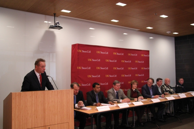 Dean Carmen Puliafito and the panel at the Tenth Anniversary event at USC