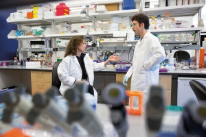 Buck Institute faculty Judith Campisi and Postdoc Marco Demaria. [Credit: The Buck Institute]