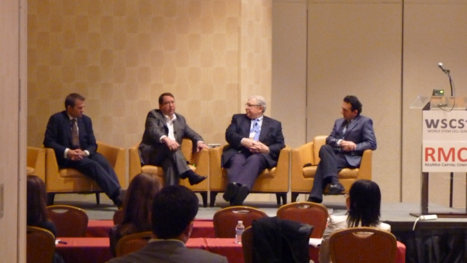 Left to right: Geoff Crouse CEO of Cord Blood Registry, C. Randal Mills, President and CEO of CIRM, Rick Blume of Excel Venture Management and Anthony Atala of Wake Forest University Medical Center