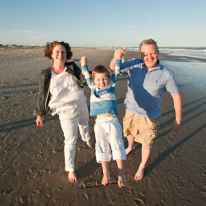 Jamie Goldfarb with her son Kai and husband Jeff. Photo courtesy Melanoma Research Alliance