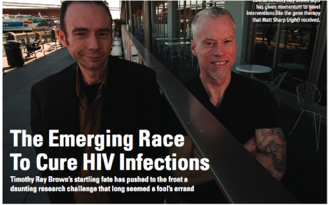 """Mathew Sharp, right, with Timothy Brown, the """"Berlin Patient"""" whose stem cell transplant for leukemia proved a gene variant on the surface of T cells could effectively cure HIV."""