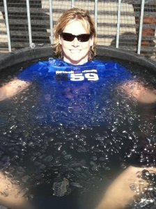 Weightlifter Karyn Marshall taking an ice bath: Photo courtesy Karyn Marshall