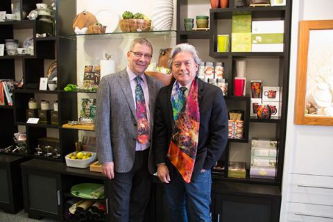 Dr. Melvin McInnis, left, and Dominic Pangborn in the Pangborn Design Store in Ann Arbor. (UOM)