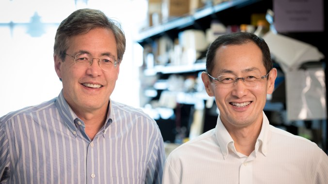 Gladstone investigators Bruce Conklin and Shinya Yamanaka. (Photo courtesy of Chris Goodfellow, Gladstone Institutes)